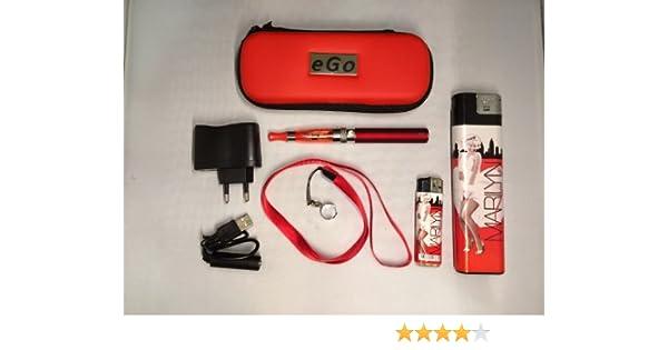 Estuche, Kit completo: cigarrillo electrónico rojo eGo CE4+ 900mAh + golgante + regalos: mecheros de coleccion Marilyn XL y normal. producto (productos) está exento (sin) nicotina y tabaco.: Amazon.es: Salud y cuidado