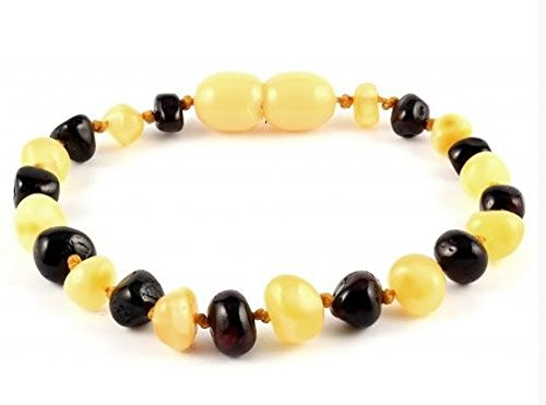 *SAFETY KNOTTED* POLISHED Mixed Colour Baltic Amber Baby Teething Healing Bracelet/Anklet - Twist Closure