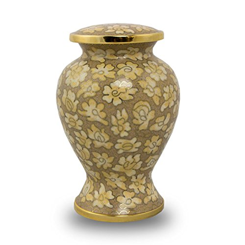 Bronze Pet Urn - Small - Holds Up To 25 Cubic Inches of Ashes - Cloisonne Brown Cloisonne - Engraving Sold Separately