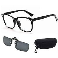 Computer Glasses + Sun Glasses Clip, Blue Light Filter Gaming Glasses Eyewear Blocking UV Anti Eye Fatigue Transparent Lenses, Driving Sunglasses