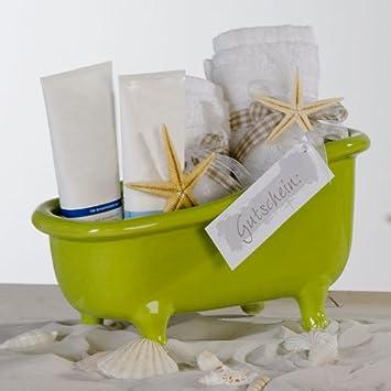 Badezimmer Dekoration Keramik Grün Badewanne Wanne Behälter Geschenktipp  Wellness Mit Kosmetik Tücher Gutschein Seife Füllen