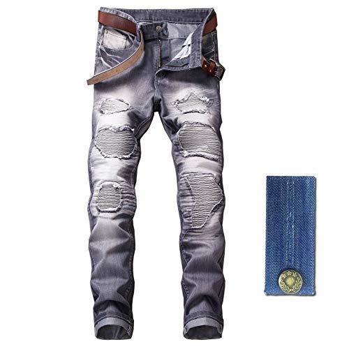 LZLER Slim Fit Biker Jeans for Mens, Distressed Straight Moto Denim Pants with Zipper Deco