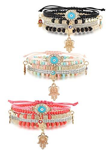 Hanpabum 3 Sets Bohemian Beaded Bracelets Set for Women Men Multilayer Hamsa Hand Evil Eye Charms Stretch Stackable Bracelet (Eye Stackable)