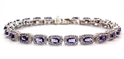 Argent sterling Améthyste et diamant 28.5CT Coupe Émeraude Ensemble collier (925)