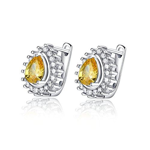 Goldminetrade Simulated Diamond Pear Shaped Lemon, Simulated Citrine Earrings (SXF3002ECPR_CTR)