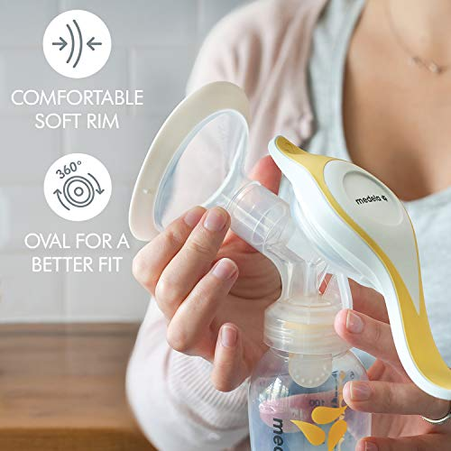41IFEEuucWL - New Medela Harmony Manual Breast Pump, Single Hand Breastpump With Flex Breast Shields For More Comfort And Expressing More Milk
