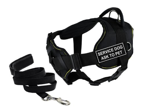 Dean & Tyler's DT Fun Chest Support ''SERVICE DOG ASK TO PET'' Harness, Large, with 6 ft Padded Puppy Leash. by Dean & Tyler