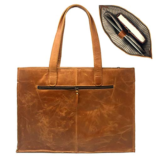 (Women Leather Tote Bag Shopper Top Zip with Dual Shoulder Straps)