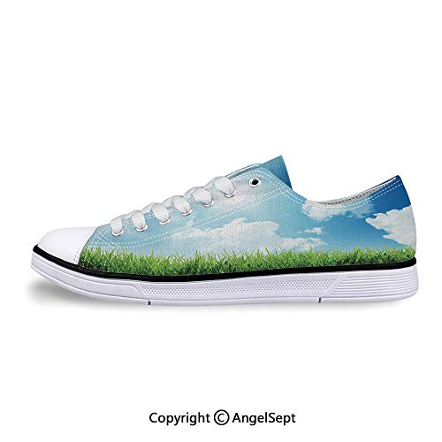 Sneaker with Green Grass Sun Rays Flat Canvas Shoes for -