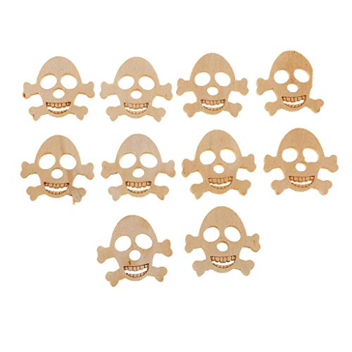 10 Pcs Skull Skeleton Style Wooden Buttons Sewing Scrapbooking DIY Handmade ()