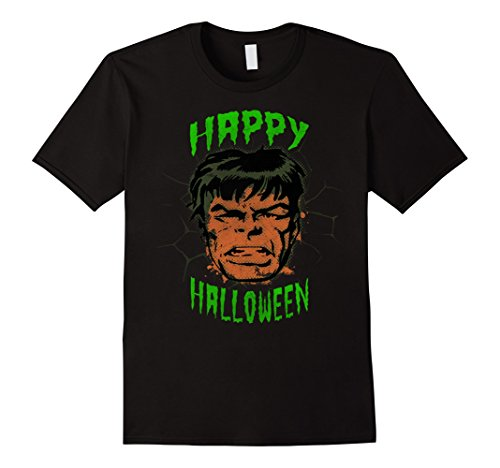 Mens Marvel Hulk Face Retro Happy Halloween Graphic T-Shirt 2XL (Happy Halloween Graphic)