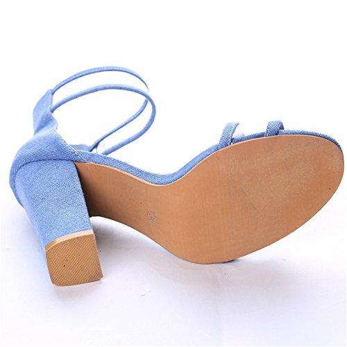 Sandales Ouverts Sangle Chaussures à Hauts Femme Talons Bleu Talons À à à Lalang Cheville 4SwXaqgnx