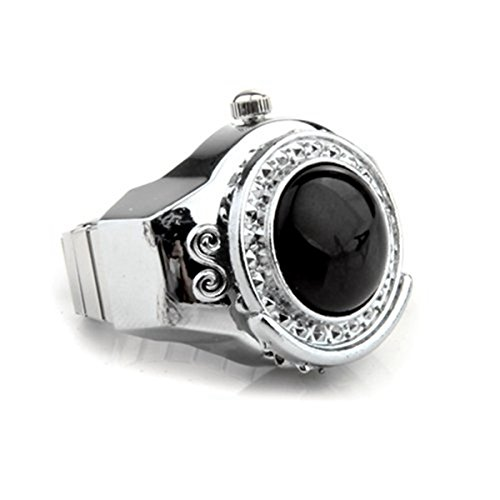 TOOGOO(R) Stretchy Black Round Agate Gem Finger Ring Watch 20mm HOT