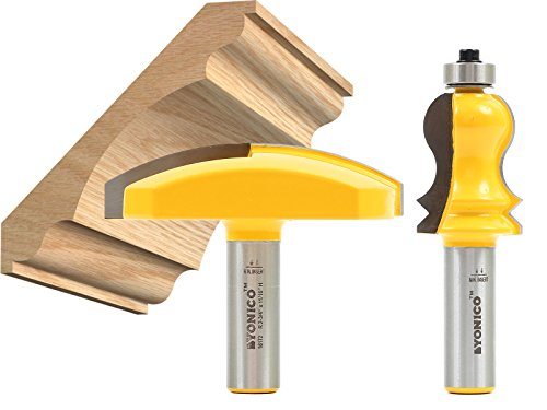 Yonico 16214 Elaborate 2 Bit Crown Cap Molding Router Bit Set 1/2-Inch (Cornice Crown Molding)