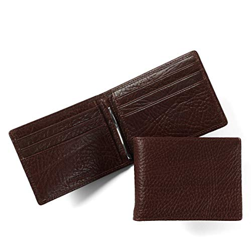 Leatherology Men's Bifold Wallet with Spring Money Clip - RFID Available - Italian Leather - Espresso (brown)