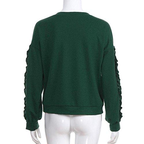 un a maniche camicette manicotto rappezzatura lungo della parti pullover lunghe Top trio con superiori delle solido autunno Verde unito Camicetta ruches di del casuali zI4n5fd