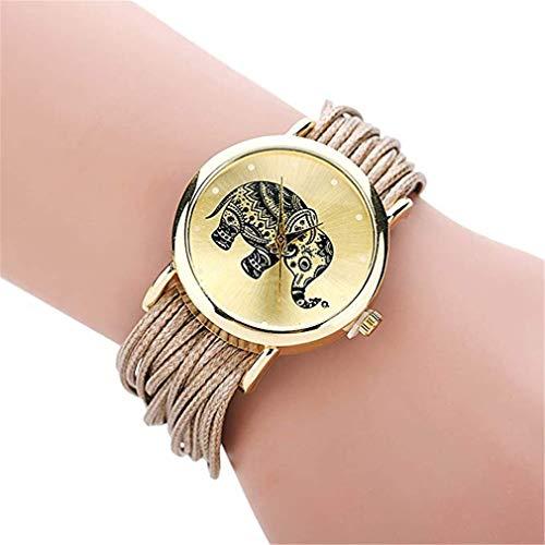 Windoson Handmade String Weaving Circle DIY Elephant Pattern Watch Ladies Student Casual Fashion Quartz Watch (Gold)