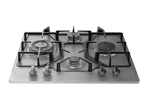 Empava 24 in. Gas Stove Cooktop 4 Italy Sabaf Sealed Burners NG/LPG Convertible in Stainless Steel EMPV-24GC4BA