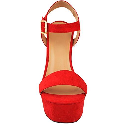 Sommer High Plattform Damen Open Wildleder Durstig Toe Rot Damen Schuhe Mode Heelberry® Sandalen Riemchen Heel Party Neue Faux tKwqIwYX