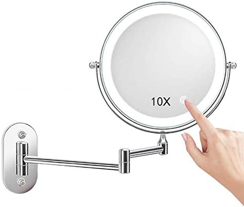 2-フェイスウォールマウントメイクアップミラーLEDライトバニティミラー3X / 5X / 7X / 10拡大鏡タッチ調光バスルームミラー8インチ (Size : 7X)