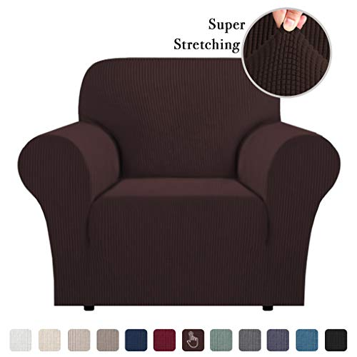 Strech Chair Covers Sofa Cover for Moving Furniture Covers Sofa Protector Jacquard Spandex Couch Covers for Living Room Form Fitted Sofa Slipcover 1 Piece Brown, Chair (1 Seater)