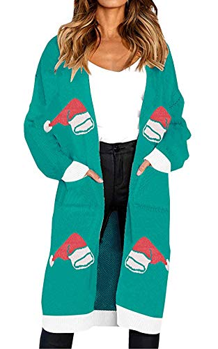 Oversize Loose Ugly Christmas Santa Claus Hat Cardigan Sweater Outwear Coat