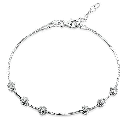 Amberta 925 Sterling Silver Adjustable Bracelet - 1 mm Square Snake Chain with Rose Beads - 7