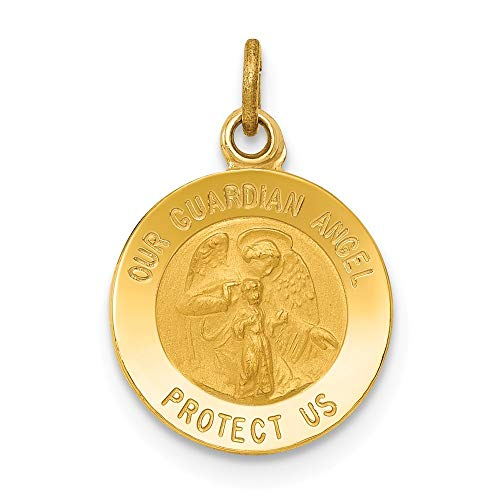 14K Yellow Gold Guardian Angel Medal Charm Pendant from Roy Rose - Angel Medal Gold