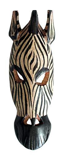 African Animal Mask Hand Craft Wood Zebra Mask Wall Hanging Decor 7'' Pub Decor B&B Decor Guest House Decor