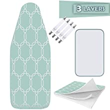 """Balffor Silicone Wider Ironing Board Cover and Pad - Scorch Proof TriFusion Iron Board Cover (White & Green) with Bonus Adjustable Fasteners and Protective Mesh 18"""" X 49"""""""