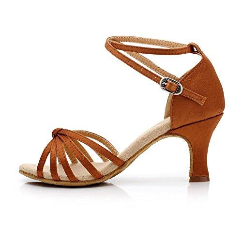 YFF Las mujeres América Tango Zapatos de baile de salsa fondo blando darkbrown 5cm