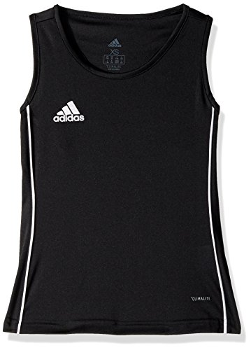 adidas Junior Girls' Core 18 Soccer Tank Top, Black/White, X-Small
