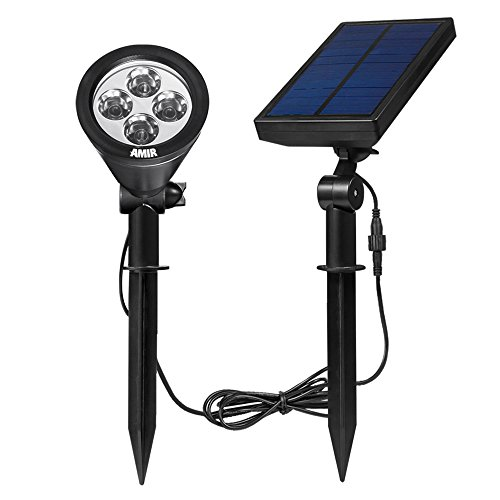 Amir Solar Spotlight Outdoor Garden Wall lights, Waterproof, 180°angle Adjustable, Auto-on At Night/Auto-off By Day, White (Solar Column Lights Outdoor)