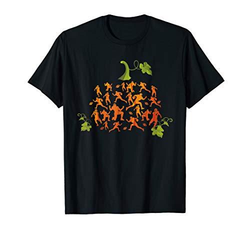 Cute Pumpkin Football Player Halloween Costume Gift Funny T-Shirt]()