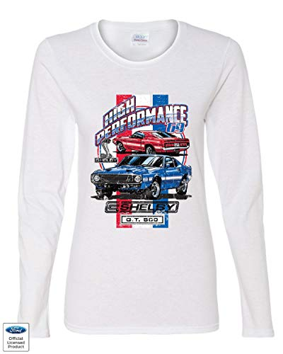 High Performance 1969 Shelby GT500 Women's Long Sleeve Tee Ford Mustang Cobra White M
