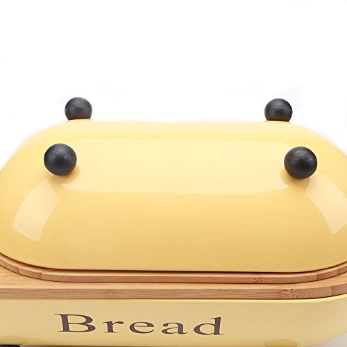 Hot-Sale-Yellow-Vintage-Metal-Bread-BinBox-Set-with-Bamboo-Lid
