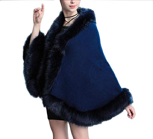 Mogogo Women's Fall Winter Open-Front Poncho Shawl Knitted Tops Outwear Navy blue