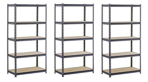 EDSAL UR2436 Industrial Gray Heavy Duty Steel Boltless Shelving Storage Rack, 1800 Capacity, 36