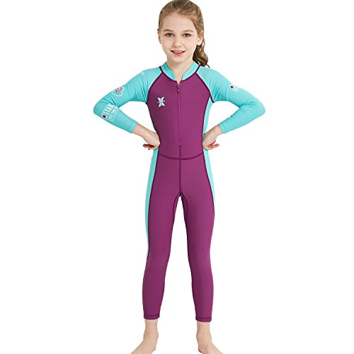 DIVE&SAIL Kids Sunscreen Guard, UPF 50+ Long Sleeve Full Swimsuit for Girls and Boys Snorkeling, Diving Scuba and Pool Multi Water Sports (Thin) (Girl's Dark Purple, Small)