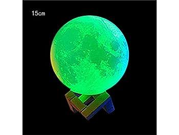 Yunqir Compatible 3D Moon Lamp USB Hand Touch Shot Lights Moon Night Light Moonlight Table Desk Moon Lamp Gift Wooden Holder (Diameter:15cm)