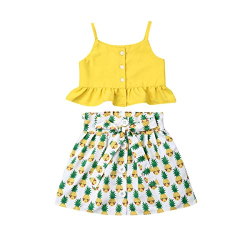 Newborn Baby Girl Short Tops Tanks+Hawaiian Luau Dress Girls Skirts Toddler Outfit Summer Clothes Set (Yellow, 1-2 Years)]()