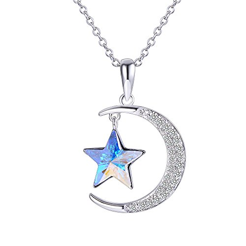 XUPING Jewelry Luxury Moon Star Pendant Necklace with Box Crystals from Swarovski Valentine's Day Women Girl Gifts (Crystal Aurore - About Pendant Swarovski Question Flower