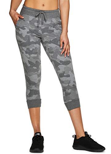 RBX Active Women's Camo Print Jogger Capri Sweatpants Camo Grey L ()
