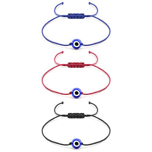 (Shonyin Evil Eye Hamsa Bracelet Red Blue Unisex Lucky String Kabbalah Ojo Turco Waterproof Best Gift for Family Friend Women Men 2pcs (3pcs Evil Eye Bracelets))