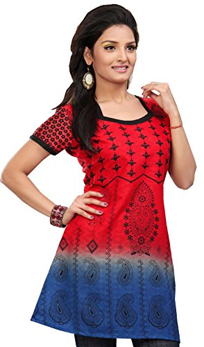 India Tunic Cotton Top Kurti Womens Printed Blouse Indian Apparel (Red, XS)