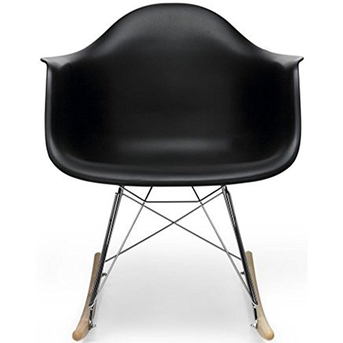 2xhome Black Eames Style Molded Modern Plastic