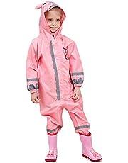 LIVACASA 3D söt regnrock barn vattentät andningsbar regndräkt allt i ett pöl passar pojkar flickor huva lerig kostym med reflektor lätt PVC transparent hattbrätte för barn 3-10 år