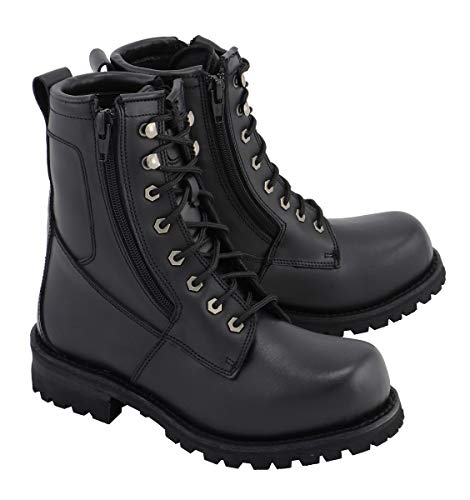 M Boss Motorcycle Apparel BOS49006 Mens 9 Inch Black Trooper Leather Motorcycle Boots - 9.5