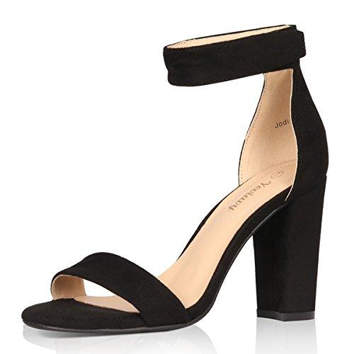 Heel Block Shoes Sexy High (Yeviavy High Heel Sandals Women's Block Heels Open Toe Velcro Ankle Strap Dress Shoes Jordi Black Suede 7)