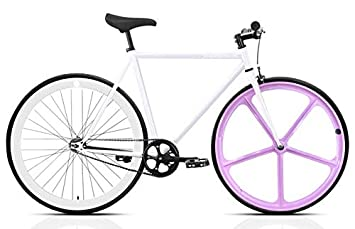 Mowheel Bicicleta Monomarcha Single Speed T-54cm Rosa-Blanca: Amazon ...